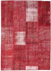 Patchwork Matto 160X226 Moderni Käsinsolmittu Punainen/Ruoste (Villa, Turkki)