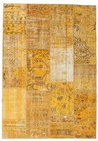 Patchwork Matto 161X230 Moderni Käsinsolmittu Vaaleanruskea/Keltainen (Villa, Turkki)