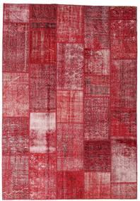 Patchwork Matto 202X298 Moderni Käsinsolmittu Punainen/Tummanpunainen/Ruoste (Villa, Turkki)