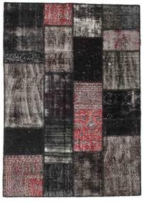 Patchwork Matto 142X199 Moderni Käsinsolmittu Musta/Tummanharmaa (Villa, Turkki)