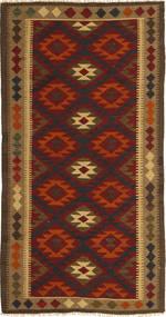 Kelim Maimane Matto 97X198 Itämainen Käsinkudottu Tummanruskea/Tummanpunainen (Villa, Afganistan)