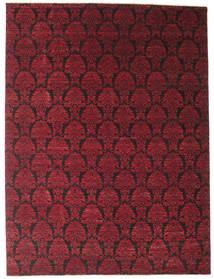 Damask Matto 274X365 Moderni Käsinsolmittu Tummanpunainen/Tummanruskea Isot ( Intia)