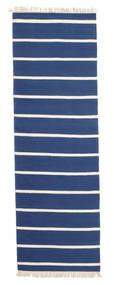 Dorri Stripe - Tummansininen Matto 80X300 Moderni Käsinkudottu Käytävämatto Sininen/Beige (Villa, Intia)