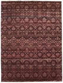 Damask Matto 234X308 Moderni Käsinsolmittu Tummanpunainen/Ruskea ( Intia)