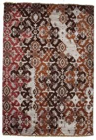 Damask Matto 122X179 Moderni Käsinsolmittu Tummanpunainen/Pinkki ( Intia)