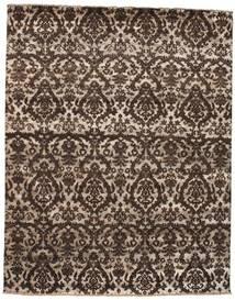 Damask Matto 241X305 Moderni Käsinsolmittu Tummanruskea/Vaaleanharmaa ( Intia)