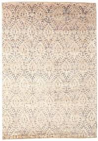 Damask Matto 170X242 Moderni Käsinsolmittu Beige/Vaaleanharmaa ( Intia)