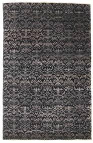 Damask Matto 164X255 Moderni Käsinsolmittu Musta/Tummanruskea ( Intia)