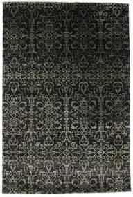 Damask Matto 203X305 Moderni Käsinsolmittu Musta/Tummanharmaa ( Intia)
