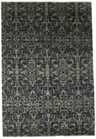 Damask Matto 174X257 Moderni Käsinsolmittu Tummanharmaa/Musta ( Intia)