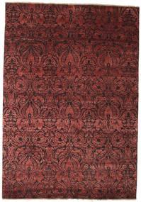 Damask Matto 172X244 Moderni Käsinsolmittu Tummanpunainen/Ruskea ( Intia)