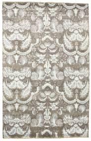 Damask Matto 197X306 Moderni Käsinsolmittu Vaaleanharmaa/Tummanbeige ( Intia)