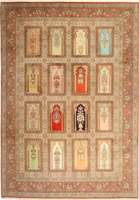 Kashmir 100% Silkki Matto 244X355 Itämainen Käsinsolmittu Ruskea/Tummanbeige (Villa/Silkki, Intia)