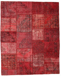 Patchwork Matto 195X244 Moderni Käsinsolmittu Tummanpunainen/Punainen (Villa, Turkki)