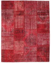 Patchwork Matto 198X252 Moderni Käsinsolmittu Tummanpunainen/Punainen (Villa, Turkki)