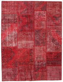 Patchwork Matto 192X251 Moderni Käsinsolmittu Tummanpunainen/Punainen (Villa, Turkki)