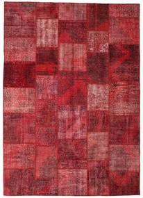 Patchwork Matto 248X352 Moderni Käsinsolmittu Tummanpunainen/Punainen (Villa, Turkki)