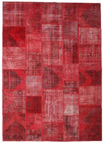 Patchwork Matto 250X356 Moderni Käsinsolmittu Tummanpunainen/Punainen/Ruoste Isot (Villa, Turkki)