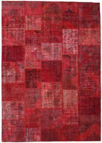 Patchwork Matto 248X351 Moderni Käsinsolmittu Tummanpunainen/Punainen (Villa, Turkki)