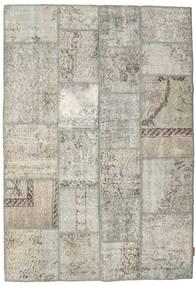 Patchwork Matto 139X201 Moderni Käsinsolmittu Vaaleanharmaa/Tummanbeige (Villa, Turkki)