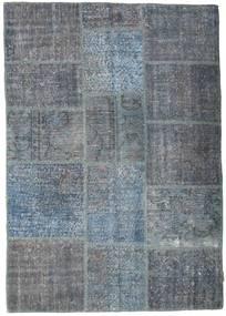 Patchwork Matto 141X200 Moderni Käsinsolmittu Tummanharmaa/Sininen/Vaaleansininen (Villa, Turkki)