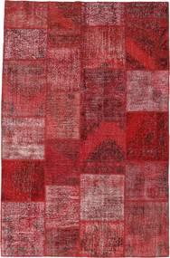 Patchwork Matto 196X301 Moderni Käsinsolmittu Tummanpunainen/Violetti (Villa, Turkki)