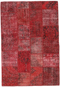 Patchwork Matto 138X202 Moderni Käsinsolmittu Tummanpunainen/Punainen (Villa, Turkki)