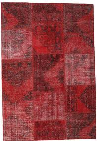 Patchwork Matto 158X232 Moderni Käsinsolmittu Tummanpunainen/Punainen (Villa, Turkki)