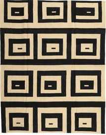 Kelim Moderni Matto 180X225 Moderni Käsinsolmittu Musta/Vaaleanruskea (Villa, Afganistan)
