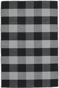 Check Kilim Matto 120X180 Moderni Käsinkudottu Musta/Vaaleanharmaa (Villa, Intia)