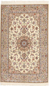 Isfahan Silkkiloimi Matto 130X212 Itämainen Käsinsolmittu Beige/Ruskea (Villa/Silkki, Persia/Iran)