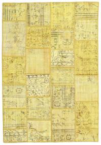 Patchwork Matto 159X231 Moderni Käsinsolmittu Keltainen/Beige (Villa, Turkki)