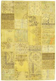 Patchwork Matto 160X231 Moderni Käsinsolmittu Keltainen/Tummanbeige/Oliivinvihreä (Villa, Turkki)