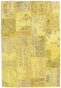 Patchwork Matto 159X230 Moderni Käsinsolmittu Keltainen/Tummanbeige (Villa, Turkki)