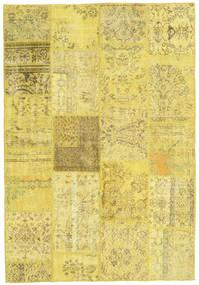 Patchwork Matto 159X232 Moderni Käsinsolmittu Keltainen/Tummanbeige (Villa, Turkki)