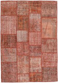 Patchwork Matto 139X201 Moderni Käsinsolmittu Tummanpunainen/Vaaleanpunainen (Villa, Turkki)