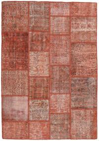 Patchwork Matto 138X201 Moderni Käsinsolmittu Tummanpunainen/Vaaleanpunainen (Villa, Turkki)