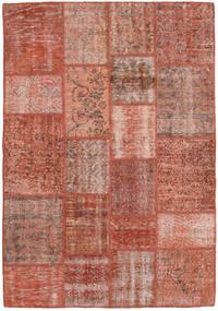 Patchwork Matto 138X201 Moderni Käsinsolmittu Tummanpunainen/Vaaleanruskea (Villa, Turkki)