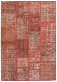 Patchwork Matto 139X202 Moderni Käsinsolmittu Tummanpunainen/Punainen (Villa, Turkki)