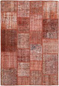 Patchwork Matto 138X205 Moderni Käsinsolmittu Tummanpunainen/Vaaleanruskea (Villa, Turkki)