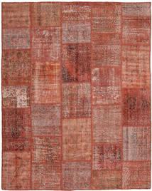 Patchwork Matto 199X248 Moderni Käsinsolmittu Tummanpunainen/Punainen (Villa, Turkki)