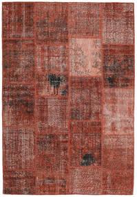 Patchwork Matto 159X232 Moderni Käsinsolmittu Tummanpunainen/Vaaleanruskea (Villa, Turkki)