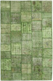 Patchwork Matto 196X302 Moderni Käsinsolmittu Tummanvihreä/Oliivinvihreä/Vaaleanvihreä (Villa, Turkki)