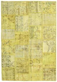 Patchwork Matto 159X232 Moderni Käsinsolmittu Keltainen/Oliivinvihreä (Villa, Turkki)