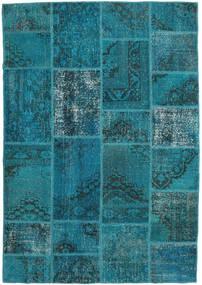 Patchwork Matto 159X231 Moderni Käsinsolmittu Tumma Turkoosi/Tummansininen (Villa, Turkki)