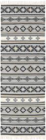 Kelim Cizre Matto 80X350 Moderni Käsinkudottu Käytävämatto Vaaleanharmaa/Tummanharmaa (Villa, Intia)