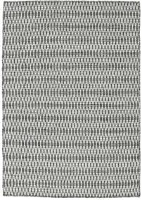 Kelim Long Stitch - Musta/Harmaa Matto 140X200 Moderni Käsinkudottu Vaaleanharmaa/Tummanharmaa (Villa, Intia)
