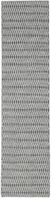 Kelim Long Stitch - Musta/Harmaa Matto 80X340 Moderni Käsinkudottu Käytävämatto Vaaleanharmaa/Siniturkoosi (Villa, Intia)