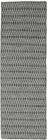 Kelim Long Stitch - Musta/Harmaa Matto 80X240 Moderni Käsinkudottu Käytävämatto Tummanharmaa/Vaaleanharmaa (Villa, Intia)