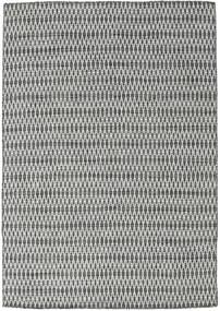 Kelim Long Stitch - Musta/Harmaa Matto 160X230 Moderni Käsinkudottu Vaaleanharmaa/Tummanharmaa (Villa, Intia)